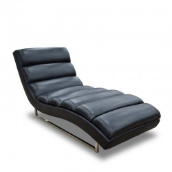 Russo Chaise Black Leather Gel